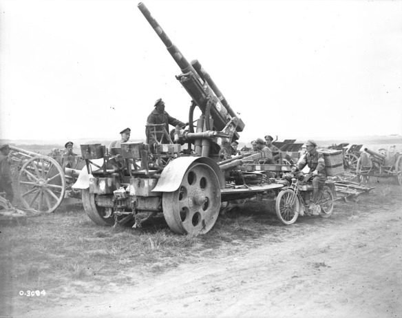 Gun captured during the Amiens Offensive, on the way to the gun park. LAC PA-003050.