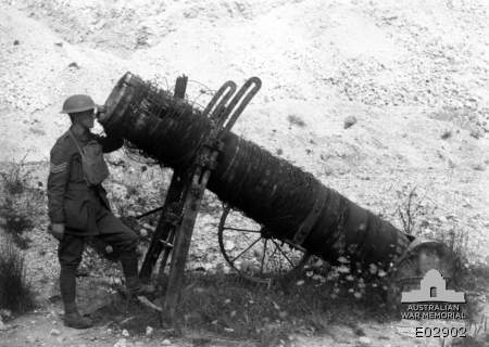 This Australian War Memorial image of an Albrecht likely depicts the largest variety (45cm bore) of this odd weapon. (AWM E 02902)