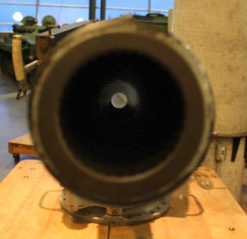 Krupp 8.8cm business end, showing the 32 groove right handed twist on the rifling (author's photo)
