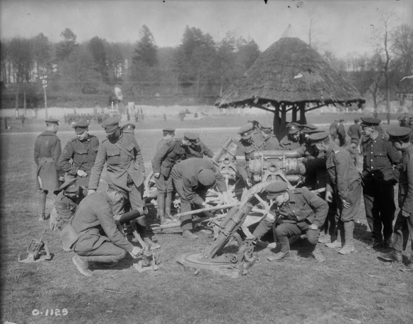 Canadians inspecting German trench mortars captured during the Battle of Vimy Ridge, Library and Archives Canada PA-951