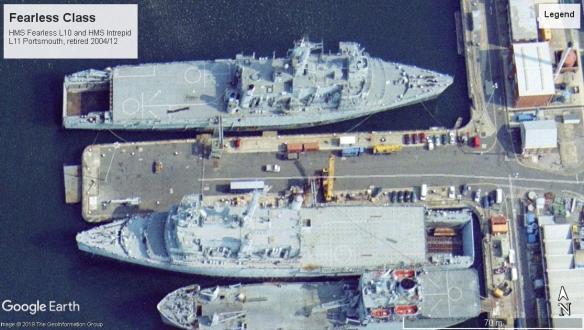 Fearless Class Amphibious Assault RN ships Portsmouth 2004.jpg