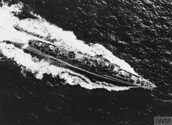 HMS ZEBRA, BRITISH Z CLASS DESTROYER. 1945.