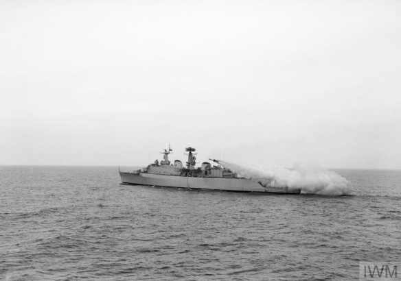 FIRST SEA SLUG IN NEW GUIDED MISSILE DESTROYER. MAY 1962, THE ROYAL NAVY'S COUNTY CLASS GUIDED MISSILE DESTROYER HMS DEVONSHIRE DURING FIRING TRIALS OF THE SHIP-TO-AIR MEDIUM RANGE GUIDED WEAPON SEASLUG.