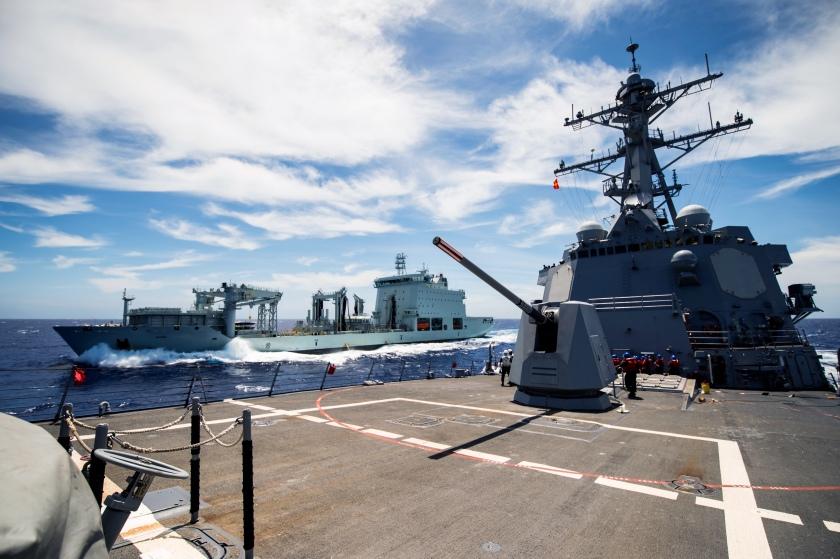 USS Dewey Replenishment-At-Sea with MV Asterix