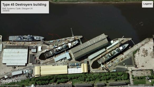 Type 45 ships building Clyde 2009.jpg