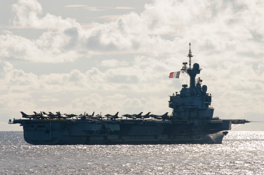 French Navy ships sail in formation with ships from the Royal Australian Navy (RAN), Japan Maritime Self-Defense Force (JMSDF), and U.S. Navy during exercise La Perouse