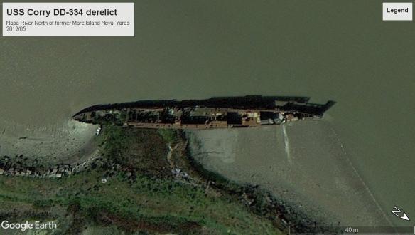 USS Corry DD-334 derelict Napa River 2012