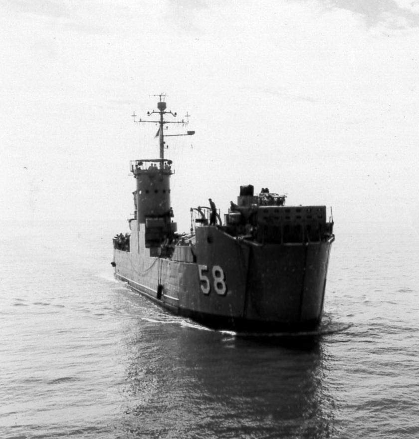 USS LSM-58 near HMCS Nootka NK-1592 (detail)