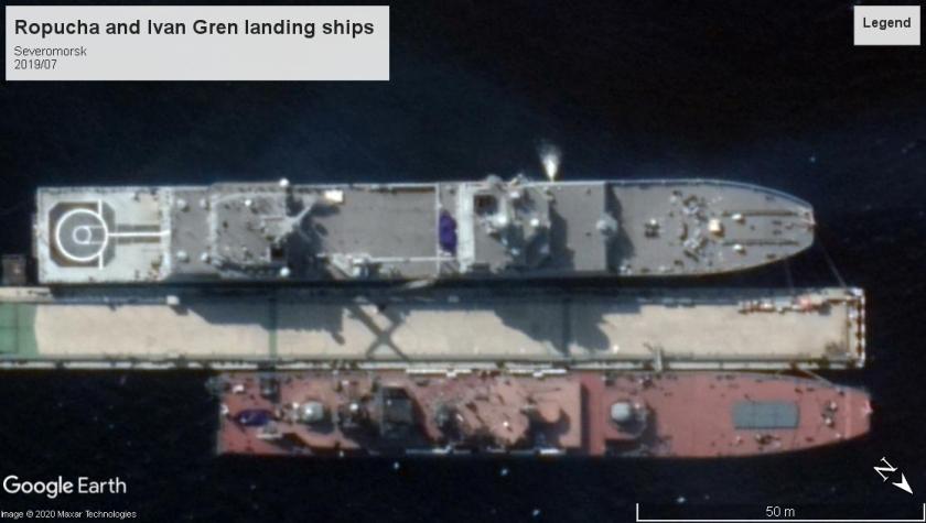 Ropucha and Ivan Gren landing ships Severomorsk 2019