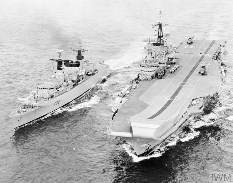 HMS Hermes and Broadsword Falklands