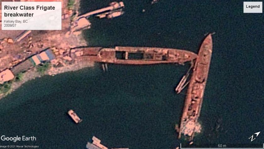 River class frigate breakwater Kelsey Bay 2009