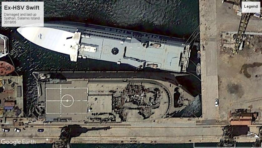 HSV Swift damaged Salamis Island 2019