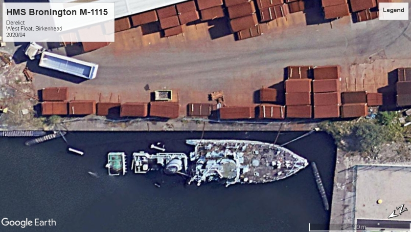 HMS Bronington M-1115 derelict West Float 2020