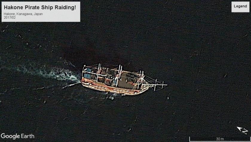 Hakone Japan pirate ship underway 2017